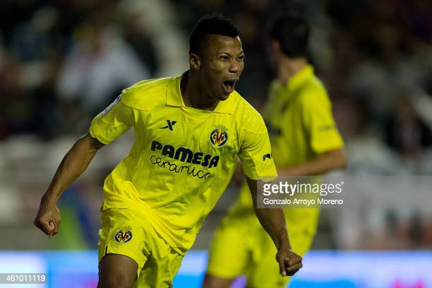 Ikechukwu Uche of Villarreal CF celebrates scoring their fifth goal during the La Liga match between Rayo Vallecano de Madrid and Villarreal CF at...
