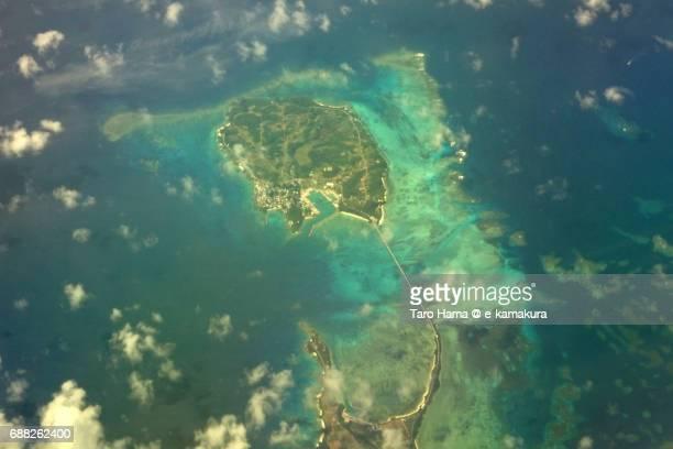 Ikema bridge connected Ikemajima and Miyakojima Islands daytime aerial view from airplane