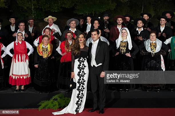 Iker Casillas and wife Sara Carbonero attend a Gala Dinner at the Dukes of Braganza Palace during the Spanish Royals official visit to Portugal on...
