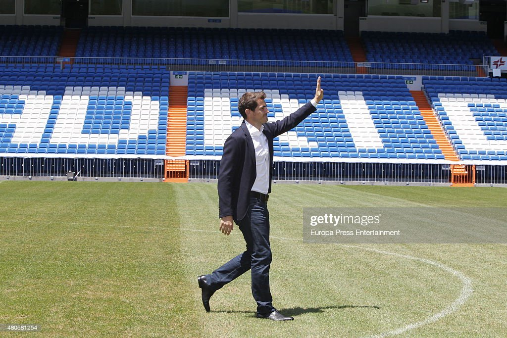 Iker Casillas attends a press conference to announce that Iker Casillas will be leaving Real Madrid football team on July 13, 2015 in Madrid, Spain.