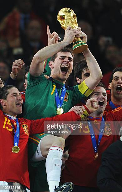 Iker Casillas captain of Spain and the Spain team celebrate victory with the World Cup trophy following the 2010 FIFA World Cup South Africa Final...