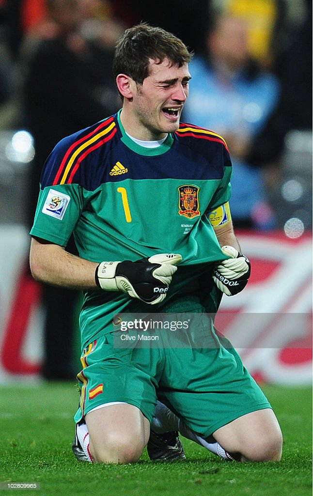 <a gi-track='captionPersonalityLinkClicked' href=/galleries/search?phrase=Iker+Casillas&family=editorial&specificpeople=215446 ng-click='$event.stopPropagation()'>Iker Casillas</a>, captain of Spain, celebrates victory at the final whistle during the 2010 FIFA World Cup South Africa Final match between Netherlands and Spain at Soccer City Stadium on July 11, 2010 in Johannesburg, South Africa.