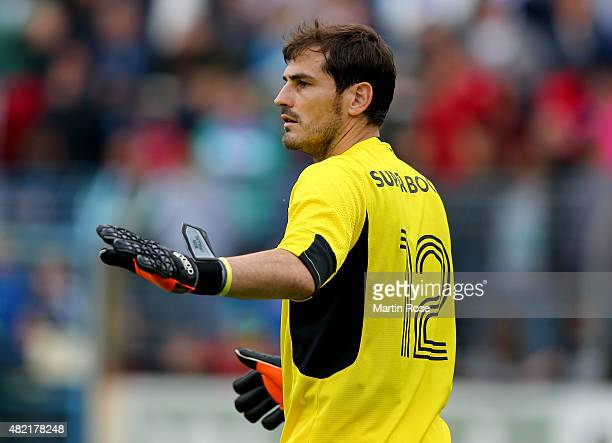 Iker Casillas goalkeeper of Porto looks on during the internatinal friendly match between FC Schalke 04 and FC Porto at Heidewaldstadion on July 27...
