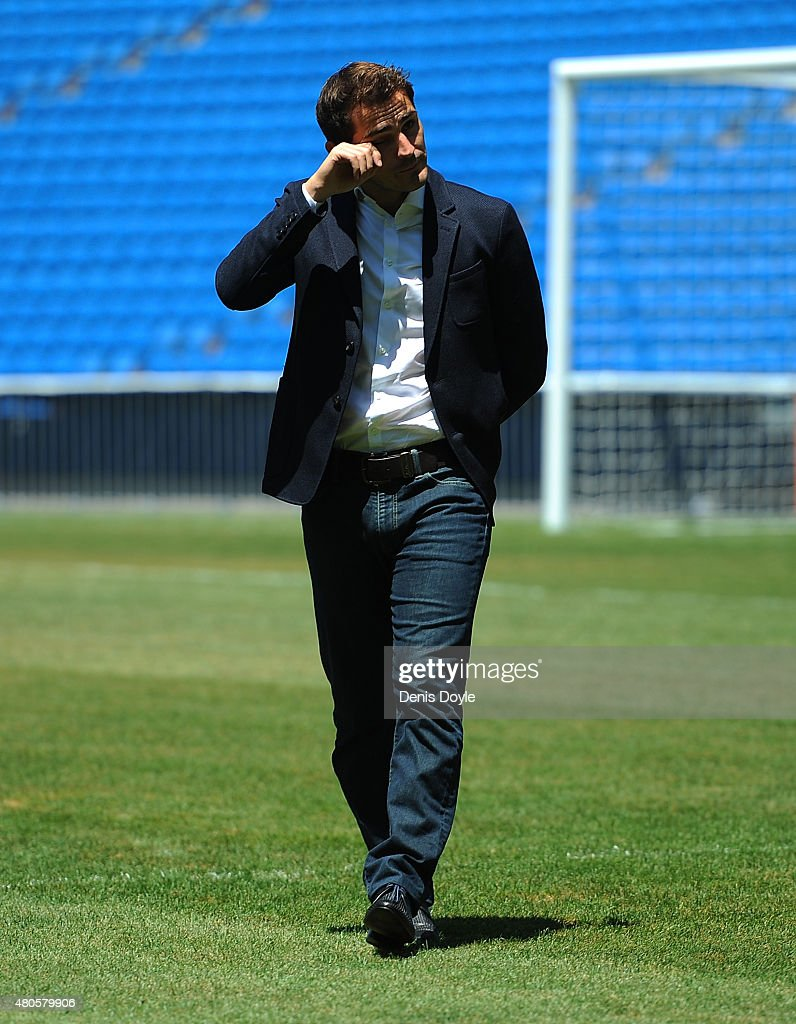 Iker Casillas is overcome with emotion while waving to fans at the Santiago Bernabeu stadium after attending a press conference to announce that he will be leaving Real Madrid on July 13, 2015 in Madrid, Spain.