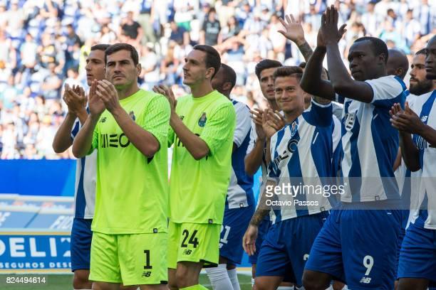 Iker Casillas Joao Costa Otavio of FC Porto during the team presentation prior to the preseason friendly match between FC Porto and RC Deportivo La...