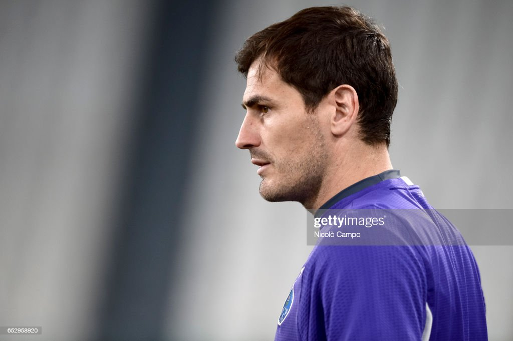 Iker Casillas looks on during the FC Porto training on the...