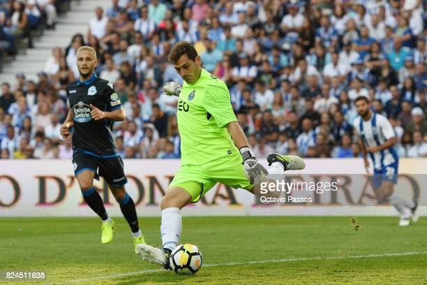 Iker Casillas of FC Porto competes for the ball with Andone of RC Deportivo La Coruna during the PreSeason Friendly match between FC Porto and RC...