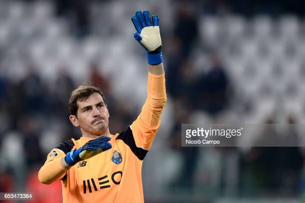 Iker Casillas of FC Porto gestures at the end of the UEFA Champions League football match between Juventus FC and FC Porto Juventus FC wins 10 over...