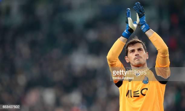 Iker Casillas of FC Porto greets the fans at the end of the UEFA Champions League Round of 16 second leg match between Juventus and FC Porto at...