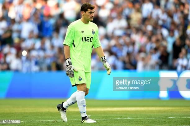 Iker Casillas of FC Porto in action during the PreSeason Friendly match between FC Porto and RC Deportivo La Coruna at Estadio do Dragao on July 30...