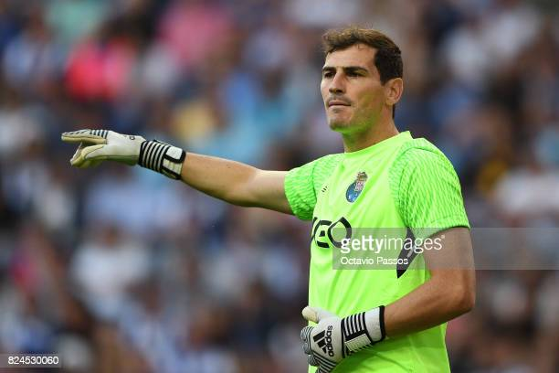 Iker Casillas of FC Porto in action during the PreSeason Friendly match between FC Porto and RC Deportivo La Coruna at Estadio do Dragao on July 30...