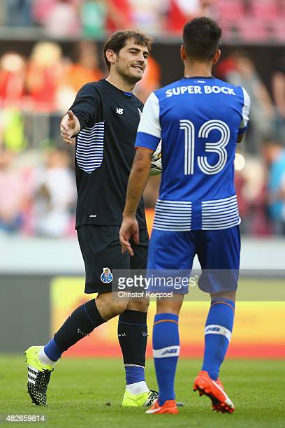 Iker Casillas of Porto and Sergio Oliveira of Porto celebrate after winning the Colonia Cup 2015 match between FC Valencia and FC Porto at...