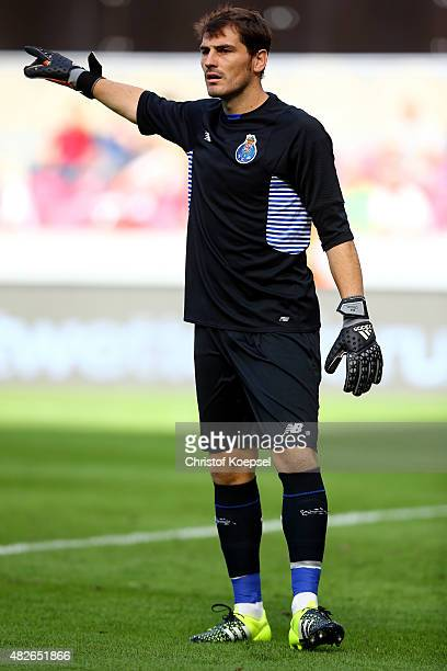 Iker Casillas of Porto issues instructions during the Colonia Cup 2015 match between FC Valencia and FC Porto at RheinEnergieStadion on August 1 2015...