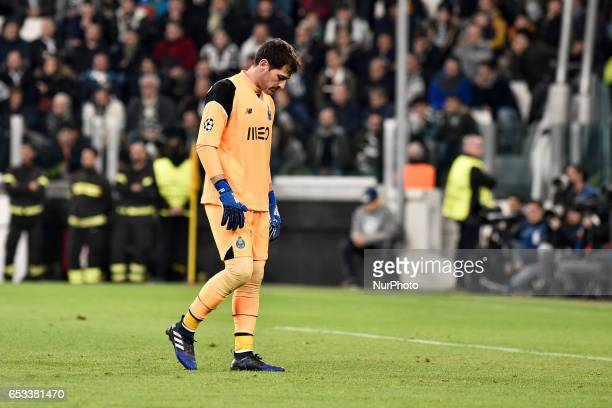 Iker Casillas of Porto looks dejected during the UEFA Champions League Round of 16 game 2 match between Juventus and Porto at the Juventus Stadium...