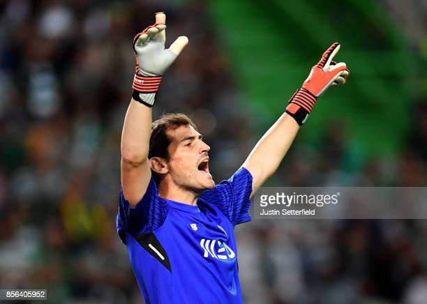 Iker Casillas of Porto reacts during the Primeira Liga match between Sporting CP and Porto at Estadio Jose Alvalade on October 1 2017 in Lisbon Lisboa