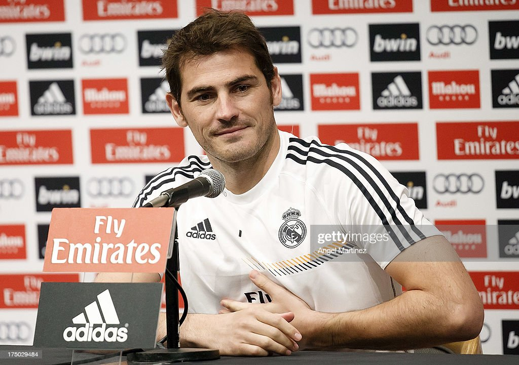 <a gi-track='captionPersonalityLinkClicked' href=/galleries/search?phrase=Iker+Casillas&family=editorial&specificpeople=215446 ng-click='$event.stopPropagation()'>Iker Casillas</a> of Real Madrid attends a press conference at UCLA Campus on July 29, 2013 in Los Angeles, California.