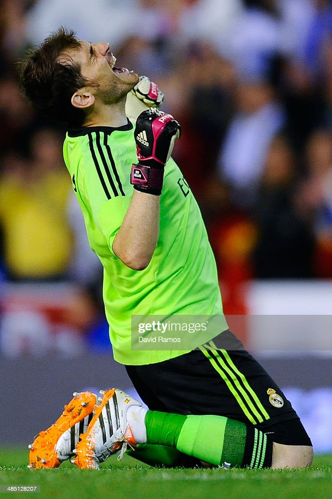 Iker Casillas of Real Madrid CF celebrates after winning the Copa del Rey Final between Real Madrid and FC Barcelona at Estadio Mestalla on April 16, 2014 in Valencia, Spain.