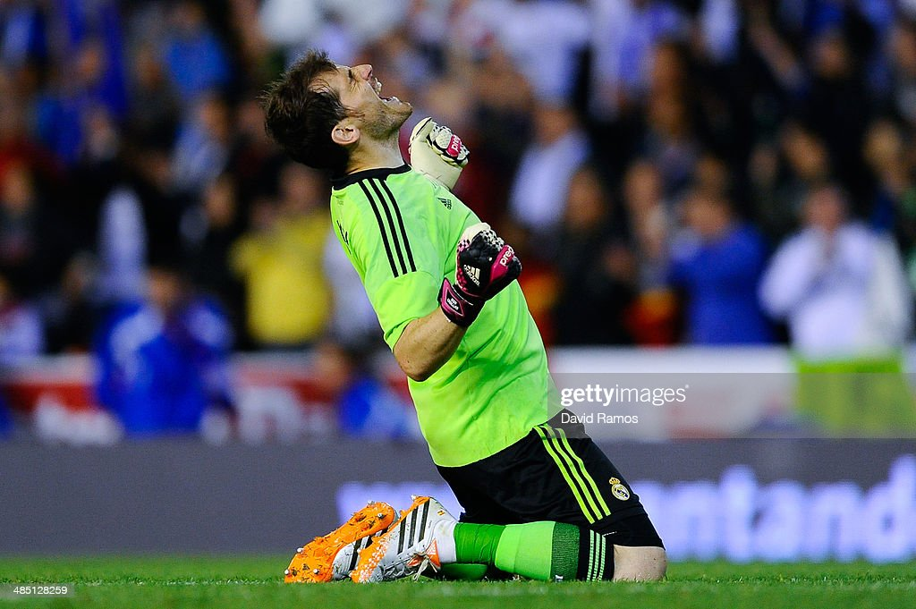 <a gi-track='captionPersonalityLinkClicked' href=/galleries/search?phrase=Iker+Casillas&family=editorial&specificpeople=215446 ng-click='$event.stopPropagation()'>Iker Casillas</a> of Real Madrid CF celebrates after winning the Copa del Rey Final between Real Madrid and FC Barcelona at Estadio Mestalla on April 16, 2014 in Valencia, Spain.