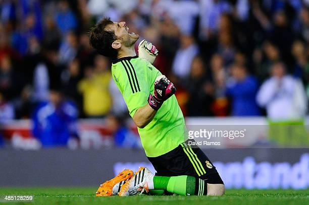 Iker Casillas of Real Madrid CF celebrates after winning the Copa del Rey Final between Real Madrid and FC Barcelona at Estadio Mestalla on April 16...