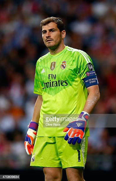 Iker Casillas of Real Madrid CF in action during the UEFA Champions League quarterfinal second leg match between Real Madrid CF and Club Atletico de...
