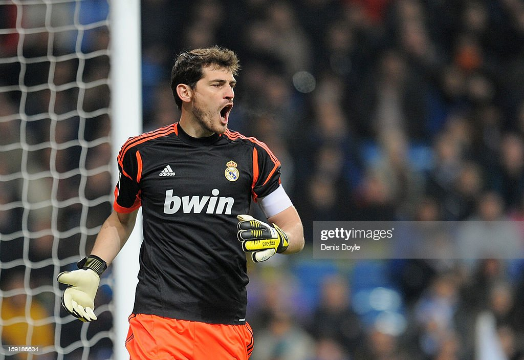 <a gi-track='captionPersonalityLinkClicked' href=/galleries/search?phrase=Iker+Casillas&family=editorial&specificpeople=215446 ng-click='$event.stopPropagation()'>Iker Casillas</a> of Real Madrid CF reacts during the Copa del Rey round of 16 second leg match between Real Madrid and Celta de Vigo at Estadio Santiago Bernabeu on January 9, 2013 in Madrid, Spain.