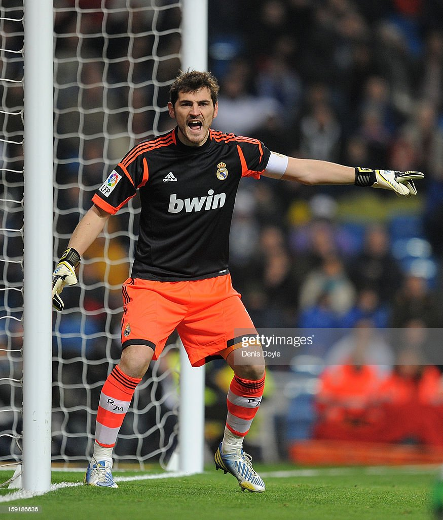 Iker Casillas of Real Madrid CF reacts during the Copa del Rey round of 16 second leg match between Real Madrid and Celta de Vigo at Estadio Santiago Bernabeu on January 9, 2013 in Madrid, Spain.