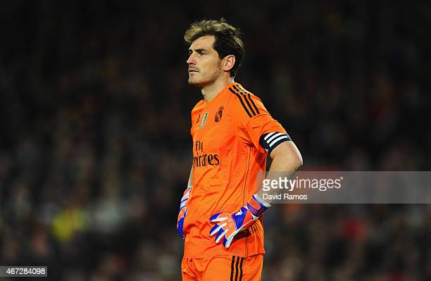 Iker Casillas of Real Madrid CF reacts during the La Liga match between FC Barcelona and Real Madrid CF at Camp Nou on March 22 2015 in Barcelona...