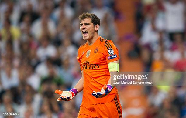 Iker Casillas of Real Madrid CF reacts during the UEFA Champions League semi final match between Real Madrid CF and Juventus at Estadio Santiago...
