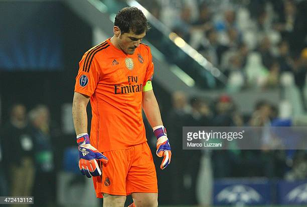 Iker Casillas of Real Madrid CF shows his dejection during the UEFA Champions League semi final match between Juventus and Real Madrid CF at Juventus...