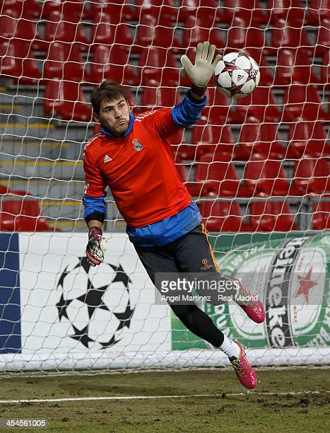 Iker Casillas of Real Madrid in action during a training session ahead of their UEFA Champions League Group B match against FC Copenhagen at Parken...