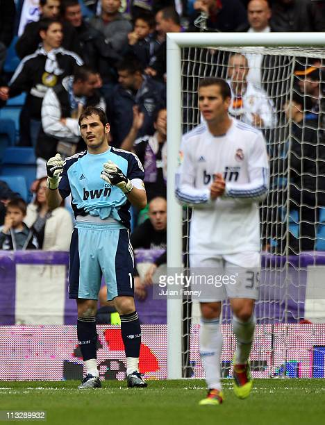 Iker Casillas of Real Madrid looks frustrated after a mistake to let Real Zaragoza the lead during the La Liga match between Real Madrid and Real...