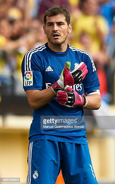 Iker Casillas of Real Madrid looks on during the La Liga match between Villarreal CF and Real Madrid at El Madrigal on September 27 2014 in...