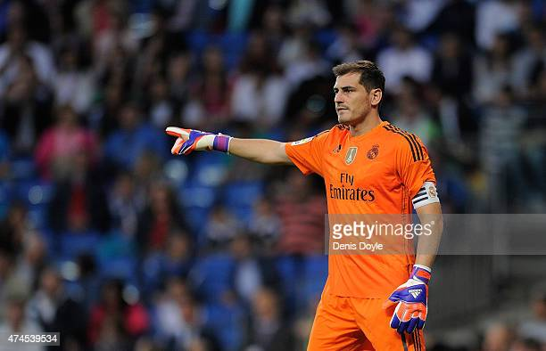 Iker Casillas of Real Madrid reacts during the La Liga match between Real Madrid CF and Getafe CF at Estadio Santiago Bernabeu on May 23 2015 in...