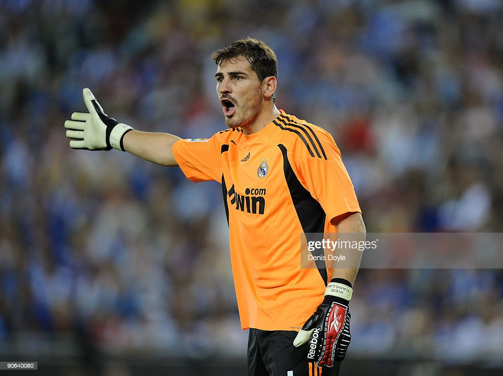 <a gi-track='captionPersonalityLinkClicked' href=/galleries/search?phrase=Iker+Casillas&family=editorial&specificpeople=215446 ng-click='$event.stopPropagation()'>Iker Casillas</a> of Real Madrid reacts during the La Liga match between Espanyol and Real Madrid at the Nuevo Estadio de Cornella-El Prat stadium on September 12, 2009 in Barcelona, Spain.