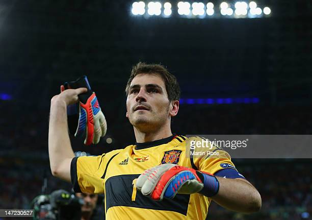 Iker Casillas of Spain celebrates during the UEFA EURO 2012 semi final match between Portugal and Spain at Donbass Arena on June 27 2012 in Donetsk...