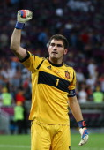 Iker Casillas of Spain celebrates victory during the UEFA EURO 2012 semi final match between Portugal and Spain at Donbass Arena on June 27 2012 in...