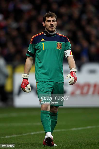 Iker Casillas of Spain during the France v Spain International Friendly match at the Stade de France on March 3 2010 in Paris France