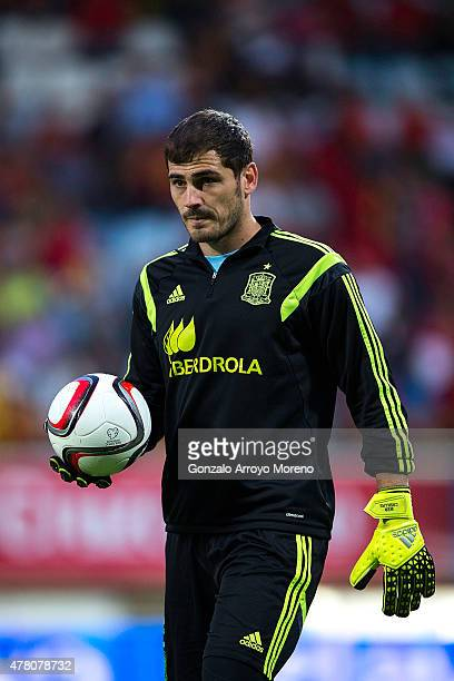 Iker Casillas of Spain holds the ball during his warming up before the international friendly match between Spain and Costa Rica at Reino de Leon...