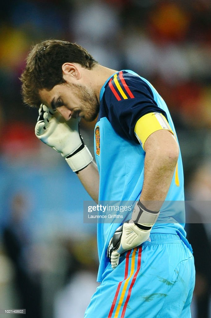 <a gi-track='captionPersonalityLinkClicked' href=/galleries/search?phrase=Iker+Casillas&family=editorial&specificpeople=215446 ng-click='$event.stopPropagation()'>Iker Casillas</a> of Spain is stunned after defeat in the 2010 FIFA World Cup South Africa Group H match between Spain and Switzerland at Durban Stadium on June 16, 2010 in Durban, South Africa.