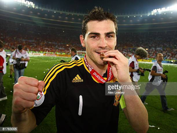 Iker Casillas of Spain kisses his winners medal after the UEFA EURO 2008 Final match between Germany and Spain at Ernst Happel Stadion on June 29...