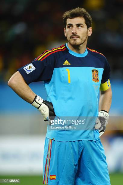 Iker Casillas of Spain looks dejected after Gelson Fernandes of Switzerland scored the first goal during the 2010 FIFA World Cup South Africa Group H...