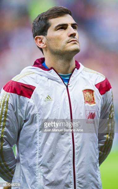 Iker Casillas of Spain looks on prior to the start the Spain v Slovakia EURO 2016 Qualifier at Carlos Tartiere on September 5 2015 in Oviedo Spain