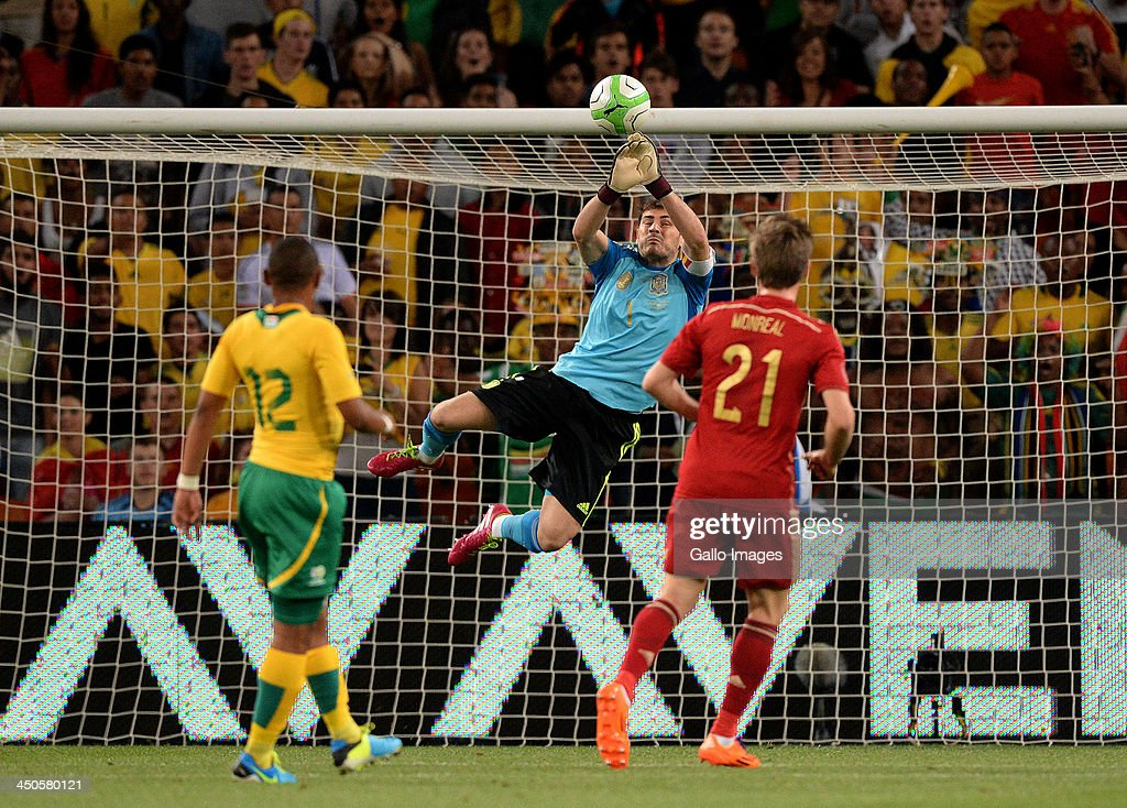 Iker Casillas of Spain makes a save during the International friendly match between South Africa and Spain at Soccer City Stadium on November 19, 2013 in Johannesburg, South Africa.
