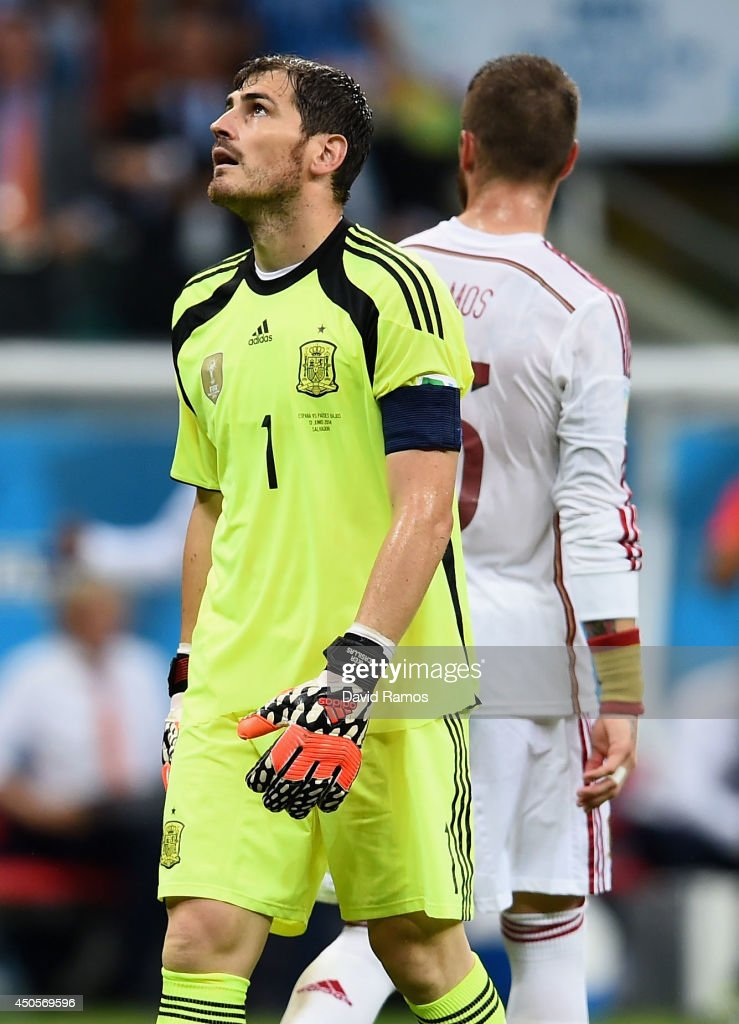 <a gi-track='captionPersonalityLinkClicked' href=/galleries/search?phrase=Iker+Casillas&family=editorial&specificpeople=215446 ng-click='$event.stopPropagation()'>Iker Casillas</a> of Spain reacts after allowing a goal in the second half during the 2014 FIFA World Cup Brazil Group B match between Spain and Netherlands at Arena Fonte Nova on June 13, 2014 in Salvador, Brazil.