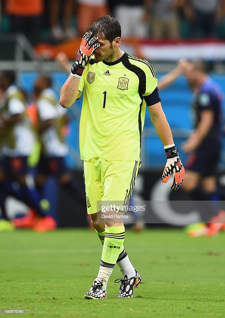<a gi-track='captionPersonalityLinkClicked' href=/galleries/search?phrase=Iker+Casillas&family=editorial&specificpeople=215446 ng-click='$event.stopPropagation()'>Iker Casillas</a> of Spain reacts after allowing the Netherlands fourth goal during the 2014 FIFA World Cup Brazil Group B match between Spain and Netherlands at Arena Fonte Nova on June 13, 2014 in Salvador, Brazil.