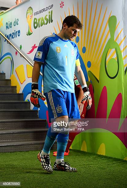 Iker Casillas of Spain walks in the tunnel after halftime during the 2014 FIFA World Cup Brazil Group B match between Spain and Chile at Estadio...