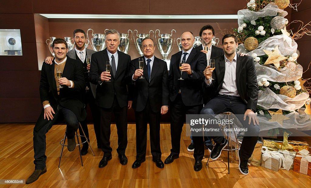Iker Casillas Sergio Ramos head coach Carlo Ancelotti president Florentino Perez basketball head coach Pablo Laso basketball player Sergio Llull and...