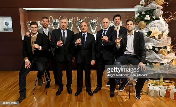 Iker Casillas Sergio Ramos head coach Carlo Ancelotti president Florentino Perez basketball head coach Pablo Laso basketball player Sergio Llull and...