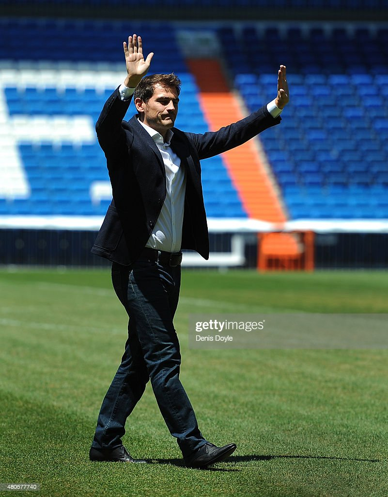 Iker Casillas waves to fans at the Santiago Bernabeu stadium after attending a press conference to announce that he will be leaving Real Madrid football team on July 13, 2015 in Madrid, Spain.