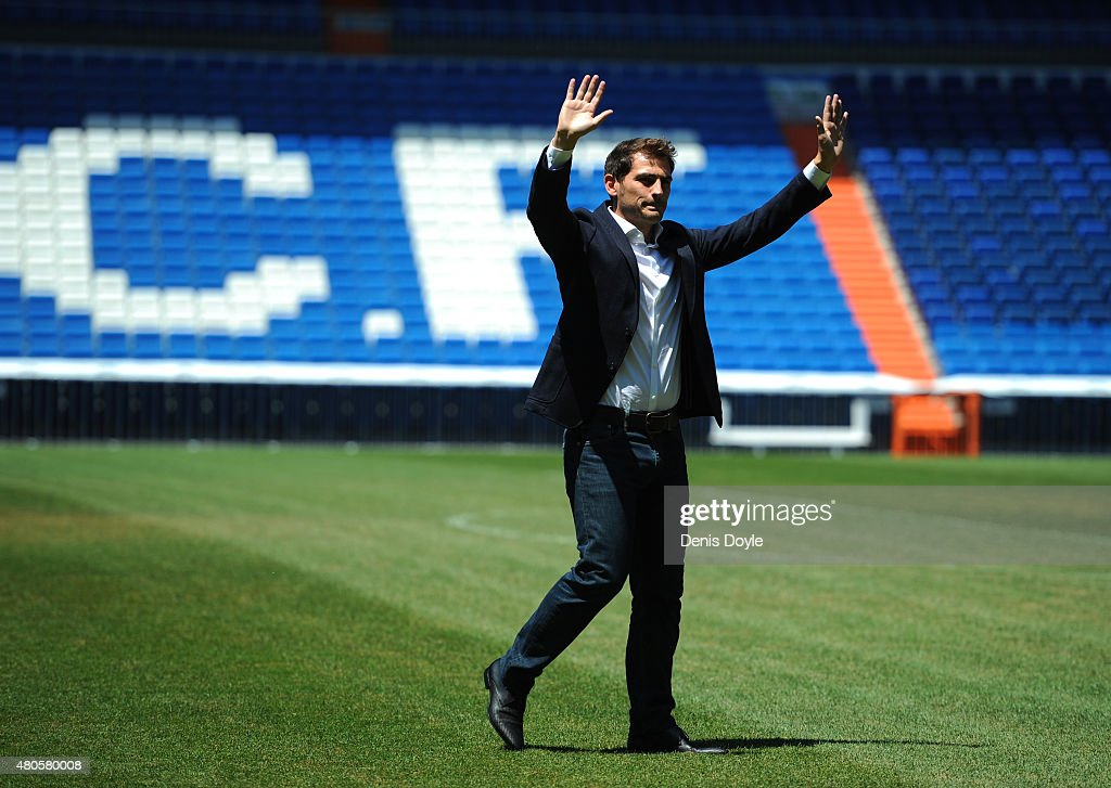 Iker Casillas waves to fans at the Santiago Bernabeu stadium after attending a press conference to announce that he will be leaving Real Madrid on July 13, 2015 in Madrid, Spain.